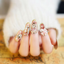 24PCS Pink Lady Rose Manicure 3D fake false full nail tip sticker Glue Gel N062