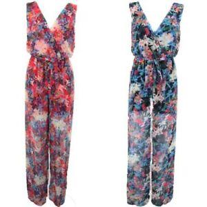 Ladies Sleeveless Wrap Plunge Chiffon Lined Floral Flare Tie Waist Jumpsuit