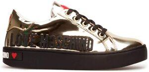 Love Moschino scarpa sneaker pelle art. JA15063G1BIA col. platino oro