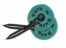 Showman Teal Leather Bit Guards with 'Turn N Burn'  Painted on Leather