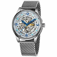 New Men's Akribos XXIV AK446SS 'Saturnos Elite' Automatic Skeleton SS Watch