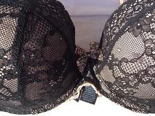 Black beige lace padded under wired  balcony bra M&S size 32D adjustable straps