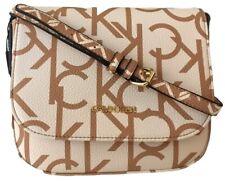 $98 Nwt Calvin Klein CK Rachel Monogram Logo Crossbody Bag Vegan Leather Brown