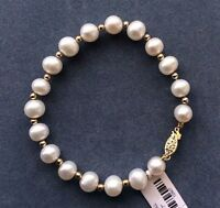 """NEW NATURAL 10-11MM SOUTH SEA GENUINE WHITE PEARL BRACELET 7.5-8"""" 14K GOLD CLASP"""