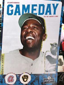 Atlanta Braves 2021 Gameday Program 7/30- 8/1 Brewers - Hank Aaron Weekend Cover