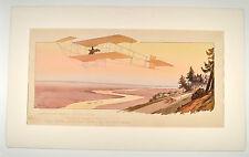 Gamy Montaut Plakat Poster 1910 Sommer Aeroplane Flugzeug Biplane  45 x 90cm