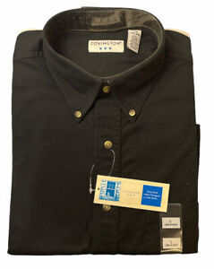 New Mens Covington Black Long Sleeve Button Up Shirt Size Large Free US Shipping