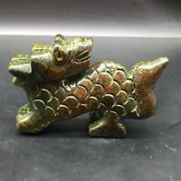 Natural Xiu Jade Quartz Crystal Carved Dragon Healing Reiki Rock Decoration