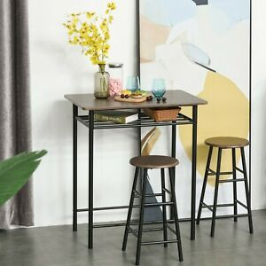 2 Seat Breakfast Bar Stools Set Brown Space Saving Dining Table Chairs Furniture