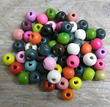 100 x 10 mm Wooden Round Beads Colour Choice craft bead assorted colours