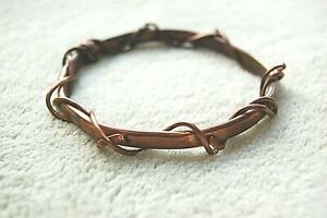 Artisan COPPER BANGLE BRACELET Handcrafted WRAPPED w/ Copper Wire *joint health