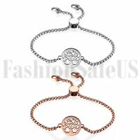 Stainless Steel Women's Ladies Charm Tree of Life Dangle Chain Bracelet Bangle