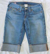 TRUE RELIGION Womens 27 Jean Bermuda Cuffed Shorts Cotton Blend Stretch EUC