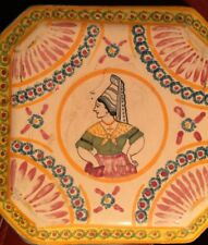 Antique French Trivet Normandy Pottery 8-Sides Signed LISIEUX Quimper Faience