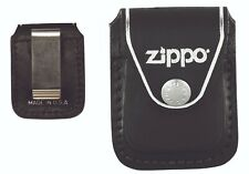 GENUINE ZIPPO BLACK LEATHER POUCH (98001) WITH CLIP IN BOX - AU STOCK !