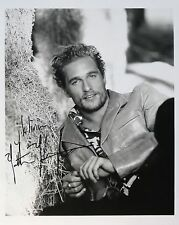 Matthew Matt McConaughey Original Autograph B&W Photograph, leather, hay, sexy