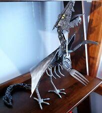 Hand Crafted Scrap Metal Winged Dragon Art Welding Sculpture - 16.5