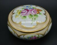 "Redon Limousin Limoges French Hand Painted Flowers & Gold 5 1/2"" Covered Box"