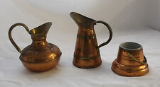 Trio of VINTAGE COPPER Items VASE Jug BOTTLE HOLDER with BRASS RING Antique