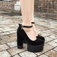 Womens Block High Heels Platform Buckle Pumps Black Solid Party Mary Jane Shoes