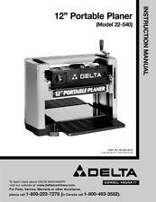 "Delta 22-540 12"" Portable Planer Instruction Manual"