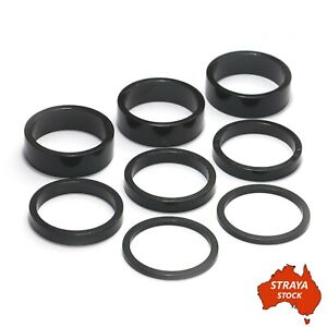 """Bicycle Bike Headset Spacer Set 8 Pieces 1 1/8"""" x 34mm Black Alloy 2/5/10mm -AU-"""