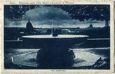 1928 Roma - Panorama notturno dalla Villa Medici Accad. Francia - FP B/N VG