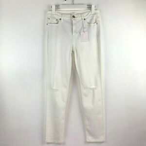 LC Lauren Conrad Skinny Distressed Off White Stretch Jeans Mid Rise 12 NWT Flaw