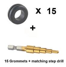 Airlock Grommets x15  for  Home Brew bin bucket + matching step drill bit
