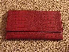 NWT Faux Alligator Leather Eco Clutch Purse Envelope Bag Handbag Siren Ruby Red