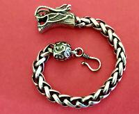 Vintage Bali Style Sterling Silver Dragon Head Heavy Chain Bracelet