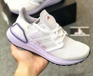 adidas UltraBoost 20 W FX8277 Running White Purple Tint Black Women's Size 6