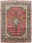 Vintage Oriental Najafabad Rug, 9'x13', Red/Blue, Hand-Knotted Wool Pile