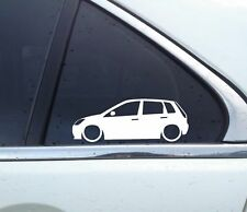 2x Lowered car outline stickers - for Ford Fiesta 5-DOOR (MK6, 2001-2009)