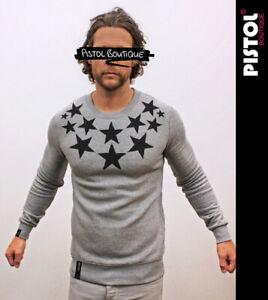 Pistol Boutique men's Grey NECK CHEST STARS Casual Classic Sweatshirt Jumper