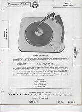 1957 PHOTOFACT Philco M-39 Record Player Turntable #2274