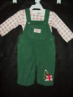 NWT Baby B'gosh Oshkosh fleece overalls pants t-shirt Christmas set 3M 3 months