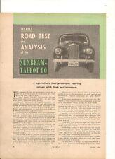 ORIGINAL 1954 SUNBEAM - TALBOT 90 AUSTRALIAN 4 PAGE FEATURE