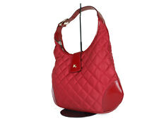 BURBERRY Quilted Nylon Canvas Leather Red Tote Bag BS0461