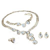 Women Chunky Crystal Statement Bib Chain Choker Pendant Necklace Jewelry Set BR