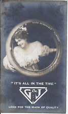 1909 LOVELY LADY ADVERTISING RP POSTCARD G & J TIRE YOUNTVILLE CA