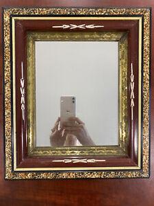 Antique Victorian Faux Tortoiseshell Picture Frame Mirror Sponge Gilt Burl Wood