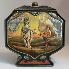 Antique Vintage HUNTLEY & PALMERS BISCUIT TIN Dutch Farming Scenes HORSE OXEN