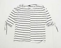 M&Co Womens Size 10 Striped White Top (Regular)