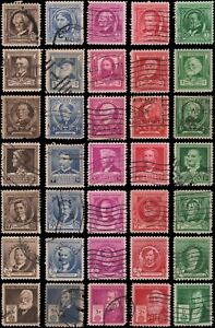 US #859-893 Used Famous Americans, complete set of 35 stamps, issued 1940