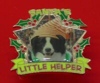 Danbury Mint Border Collie Dog Pin Badge Christmas Santa's Little Helper Dogs