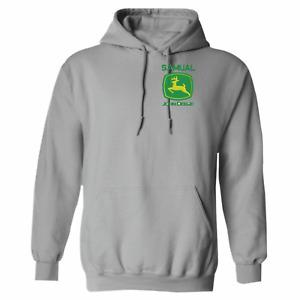JOHN DEERE LOGO EMBROIDERED Personalised tractor adult Children unisex hoodie