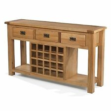 Odessa oak furniture console hall table with wine rack
