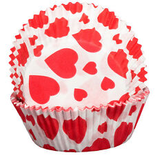 Hearts Design Cupcake Cases x60 Baking Muffin Hearts Valentine's
