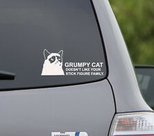 Grumpy cat doesn't like your stick figure family car decal sticker funy laugh